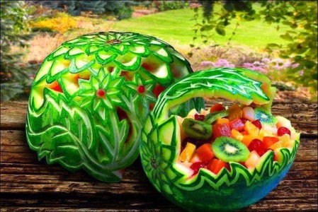 carved watermelon salad