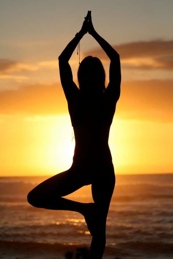 yoga pose sunset