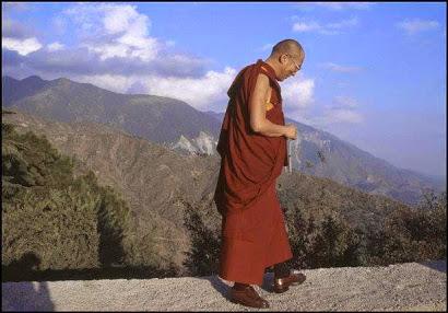 dalai lama walking