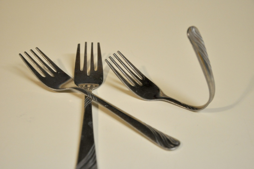 forks bent towards