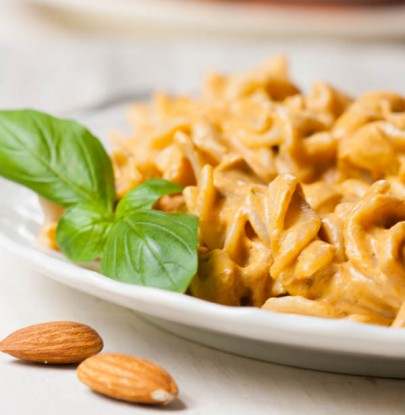 Creamy Sun-Dried Tomato Almond Butter Pasta ~ by SimpleDish
