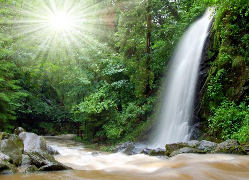waterfall river sunburse