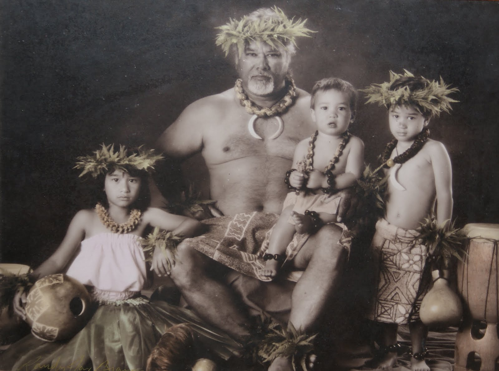 Sepia Hawaiian Family