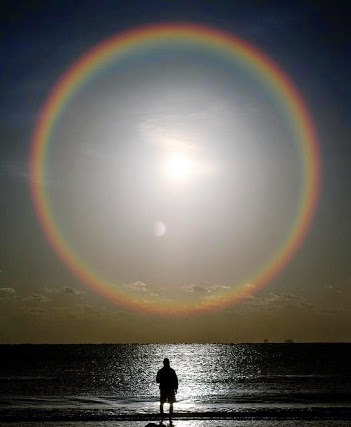 Rainbow ring around the sun & moon.