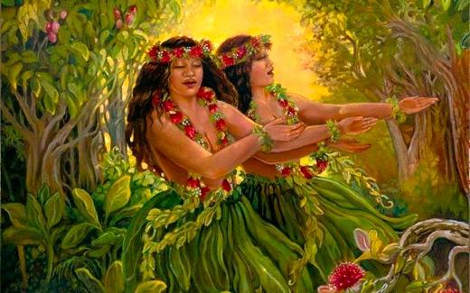Hī'iāka learning Nā Hula Kāhiko from Hoōpe