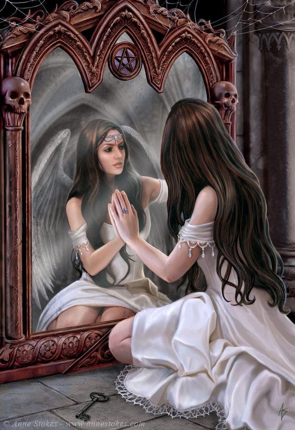 Magical MAgic Mirror Divination magic water magic angel