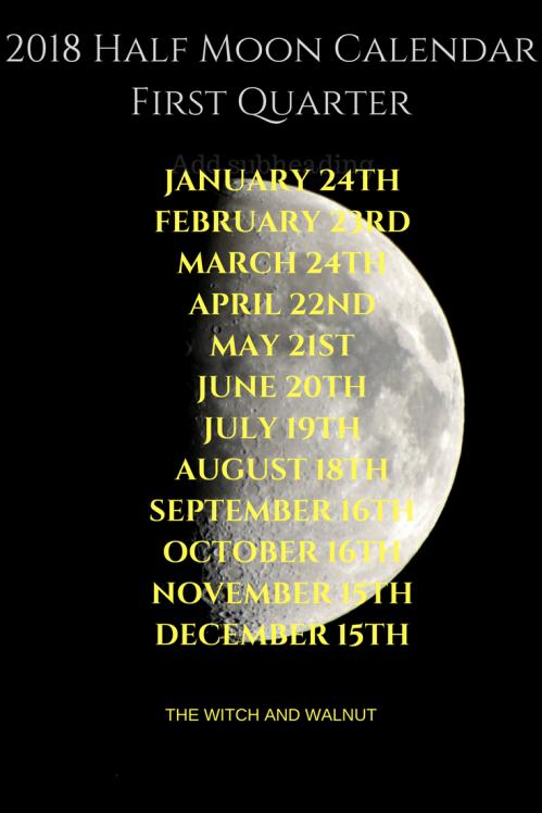 2018 Half Moon CalenderFirst Quarter