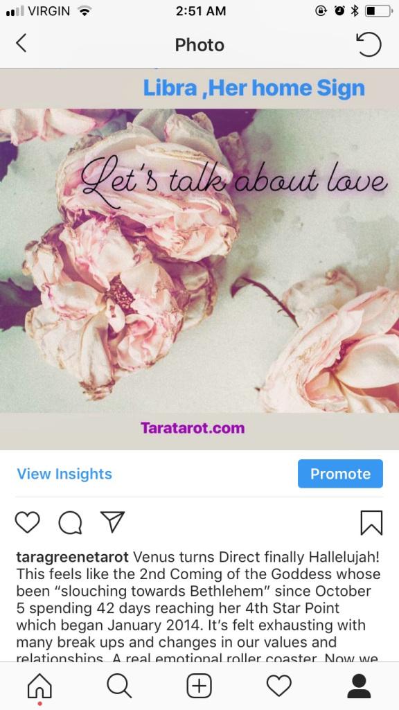 Venus Direct astrology love Tara Greene